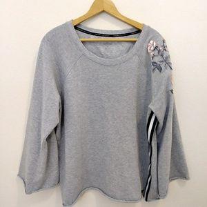 Calvin Klen gray embroidery stripe sweatshirt